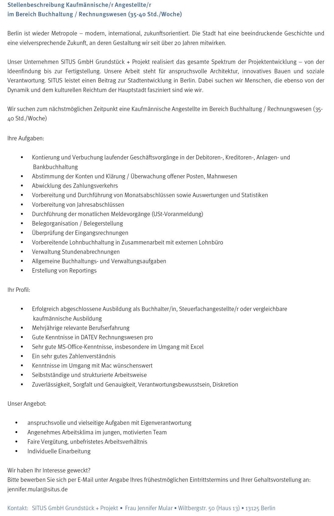 Microsoft Word - Stellenbeschreibung kfm. MA Buchhaltung MUSTER.